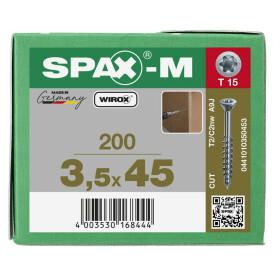 SPAX-M Senkkopf T-STAR plus - Kleiner Fräskopf Teilgewinde WIROX A3J  T15  -  3,5x45  -  200 Stk