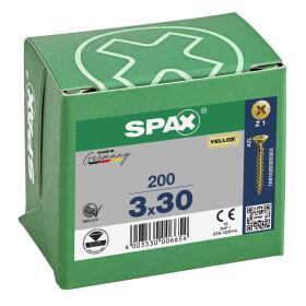 SPAX Senkkopf Kreuzschlitz Z - Vollgewinde YELLOX A2L  PZ1  -  3x30  -  200 Stk