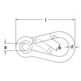 Karabinerhaken mit Kausche Edelstahl A4
