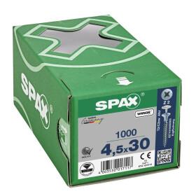 SPAX Senkkopf Kreuzschlitz Z Mit Kopfbohrung (Ø 2,5 mm) Vollgewinde WIROX A3J  PZ2  -  4,5x30  -  1000 Stk