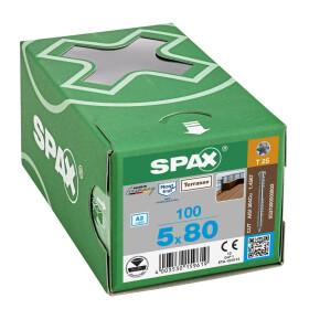 SPAX Terrassenschraube T-STAR plus CUT Fixiergewinde Edelstahl rostfrei A2 1.4567  5x80 - 100 Stk