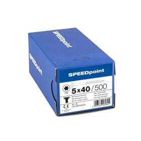 SPEEDpoint Universalschraube Senkkopf T25 Teilgewinde  blank verzinkt 500ST - 5 x 40