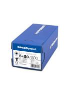 SPEEDpoint Universalschraube Senkkopf T25 Teilgewinde  blank verzinkt 500ST - 5 x 50