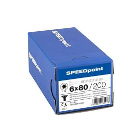 SPEEDpoint Universalschraube Senkkopf T30 Teilgewinde  blank verzinkt 200ST - 6 x 80