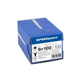 SPEEDpoint Universalschraube Senkkopf T30 Teilgewinde  blank verzinkt 100ST - 6 x 100