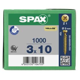 SPAX Senkkopf Kreuzschlitz Z kleiner Kopf Vollgewinde YELLOX A2L  PZ1  -  3x10  -  1000 Stk