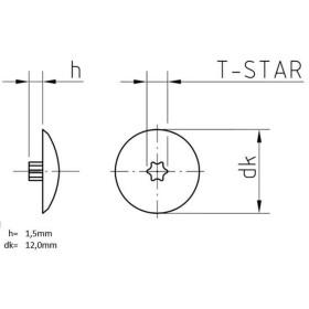 Abdeckkappen Kunststoff Dunkelbraun TX15 - 200 Stk