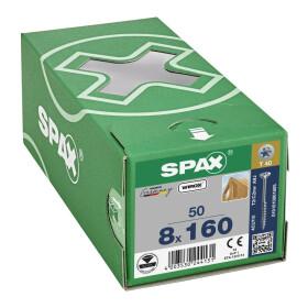 SPAX Senkkopf 8 mm T-STAR plus - Teilgewinde WIROX A3J  T40  -  8x160  -  50 Stk