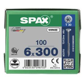 SPAX Senkkopf T-STAR plus - Teilgewinde WIROX A3J  T30  -  6x300  -  100 Stk