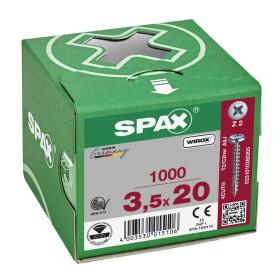 SPAX Halbrundkopf Kreuzschlitz Z 4CUT Vollgewinde WIROX A3J  3,5x20  -  1000 Stk