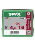 SPAX Halbrundkopf Kreuzschlitz Z 4CUT Vollgewinde WIROX A3J  4,5x16  -  1000 Stk