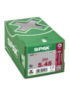 SPAX Halbrundkopf Kreuzschlitz Z 4CUT Vollgewinde WIROX A3J  5x45  -  200 Stk