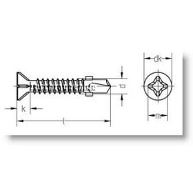 Bohrschraube Flügel-Rippe Senkkopf-O-H(P-H) DIN7504...