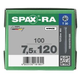 SPAX-RA Zylinderkopf T-STAR plus Vollgewinde WIROX A3J  7,5x120 - 100 Stk