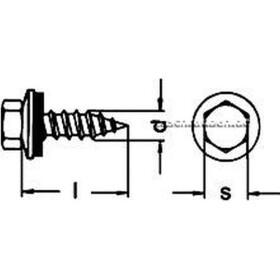 Sechskant Fassadenbauschraube Typ A (mit Spitze), unverlierbarer Neopren-Dichtscheibe (16 mm) 6,5x19 A2 Edelstahl  100 Stk
