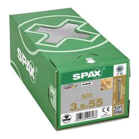SPAX Dielenschraube für Massivholz-Fußböden, Teilgewinde, Senkkopf, T-STAR plus T10, CUT-Spitze, WIROX  3,5x55 -500 Stk